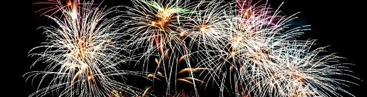 bonfire, fireworks