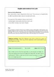 Abbreviations Worksheets