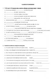 Clauses Of Concession Worksheets
