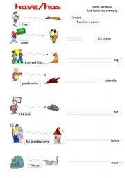Have Has Easy Grammar Worksheet