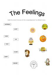 English Worksheets The Feelings Matching Activity