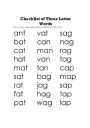 Check List Of Three Letter Words