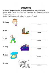 English Worksheets Synonyms Worksheet
