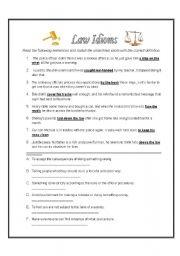 Law Idioms Esl Worksheet By Lstamm76