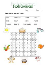 Foods Crossword