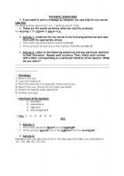 English Worksheets Phonetic Exercises