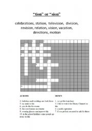 English Worksheets Tion Or Sion Crossword