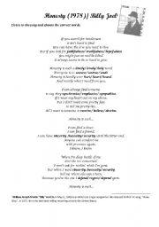 English Worksheets Honesty Billy Joel