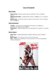 English Worksheets Types Of Propaganda