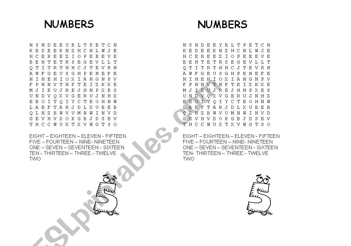 English Worksheets Numbers Word Search And Word Unscramble