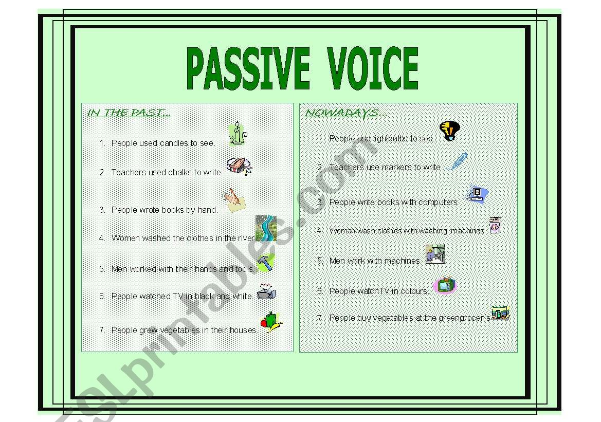 English Worksheets Passive Voice Simple Present And