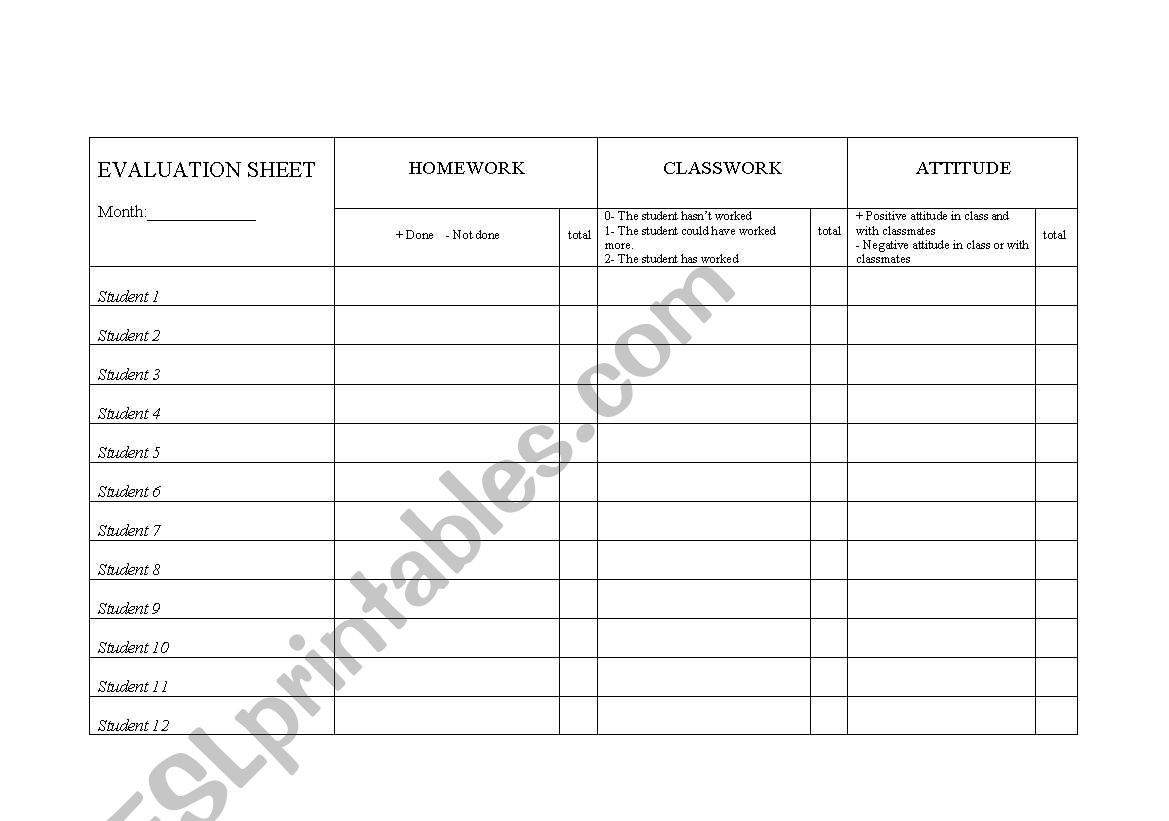Evaluation Drill For Teachers