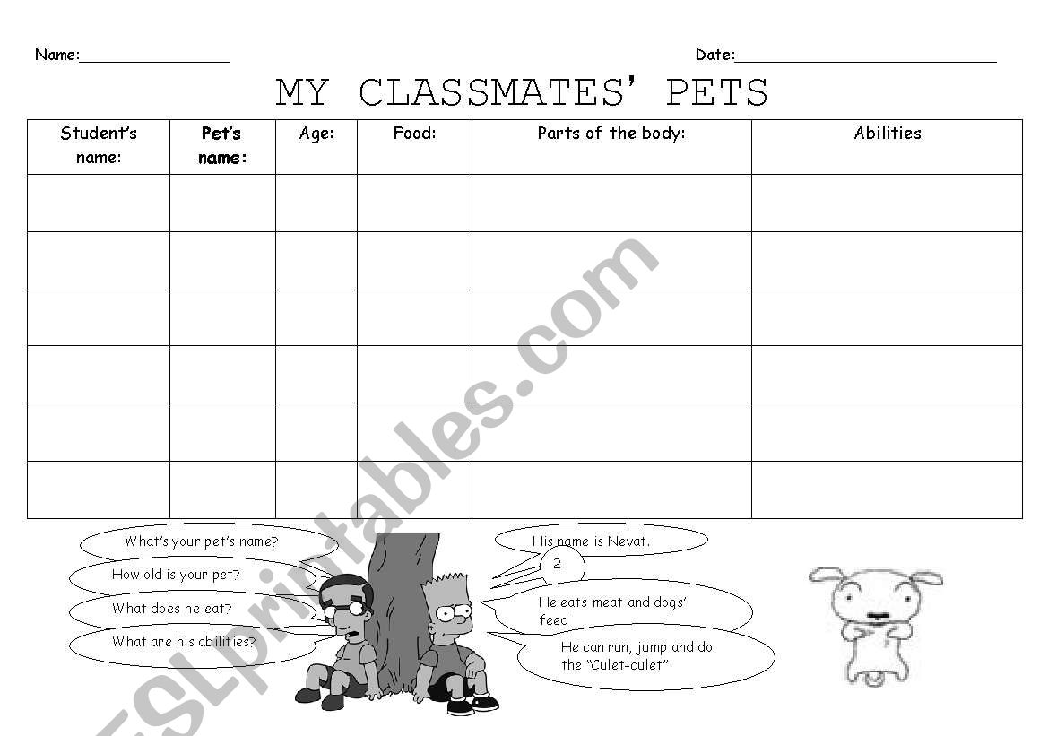 English Worksheets My Classmates Pets Questionaire