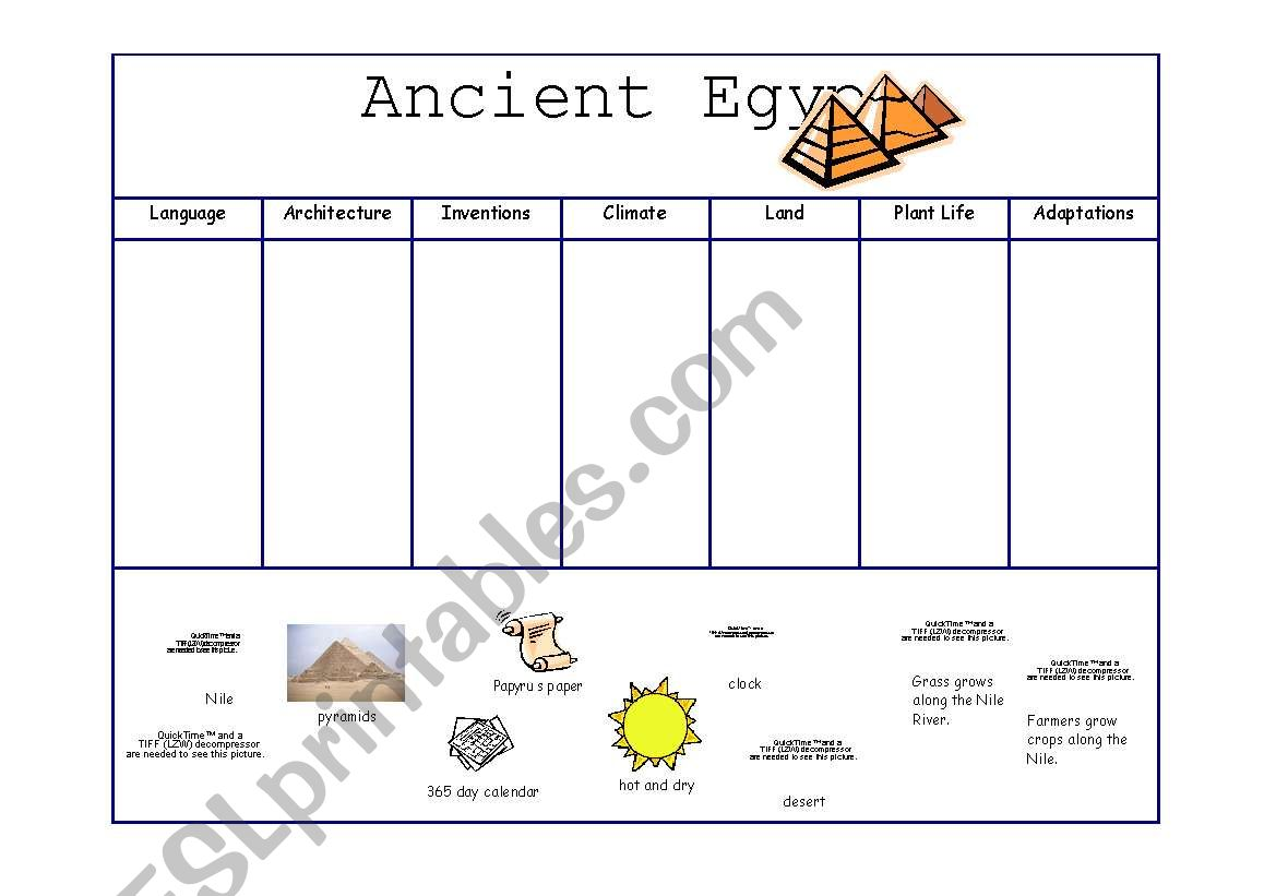 Ancient Egypt Cut And Paste Graphic Organizer