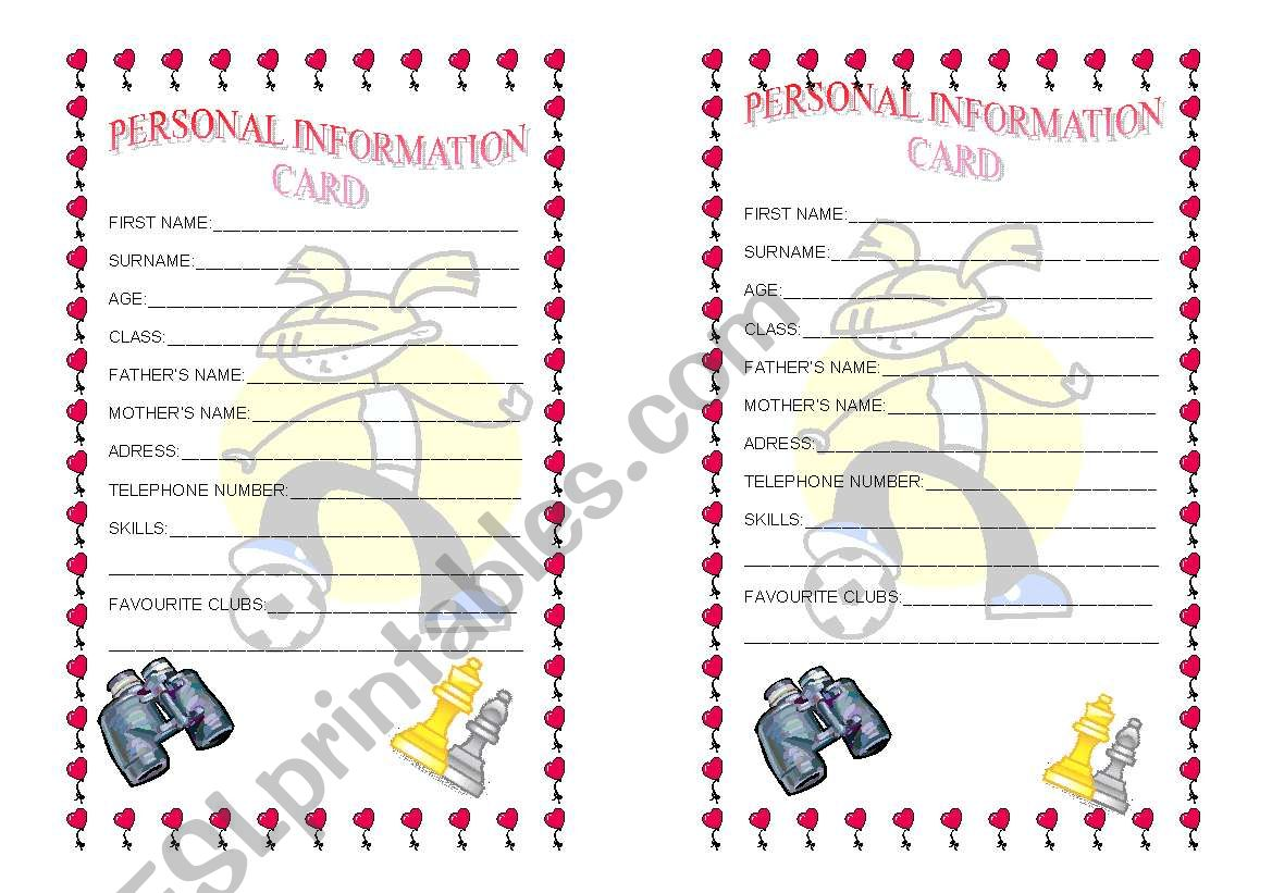 Personal Information Cards Girls