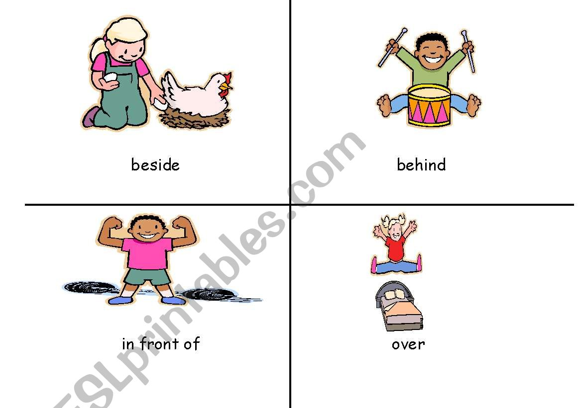 English Worksheets Pictures For Positional Words