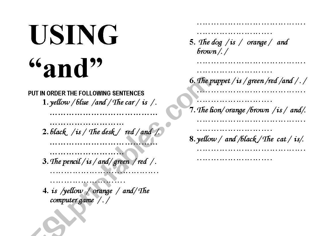 English Worksheets Unscramble Sentences