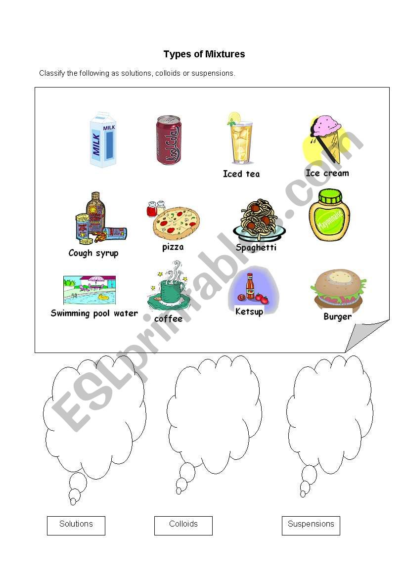 English Worksheets Types Of Mixtures