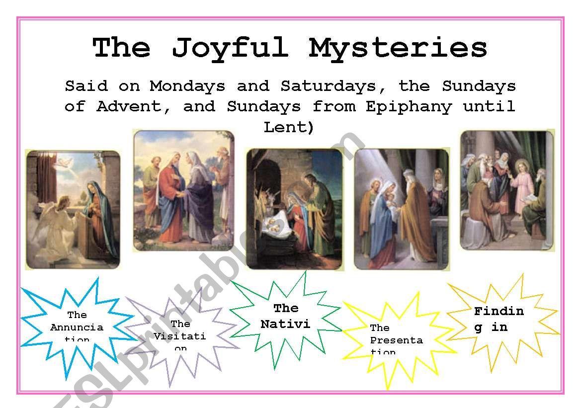 English Worksheets The Rosary Joyful Mysteries
