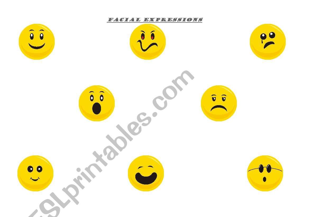 English Worksheets Facial Expressions