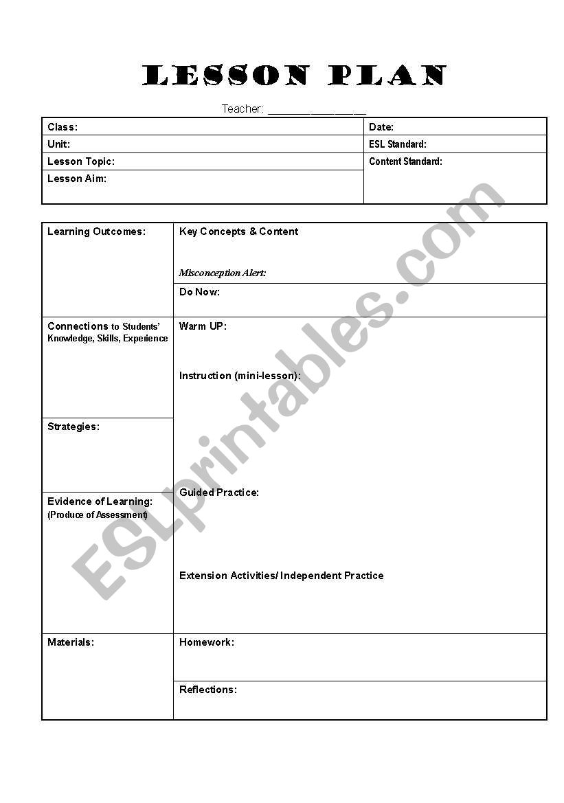 English Worksheets Lesson Plan Template