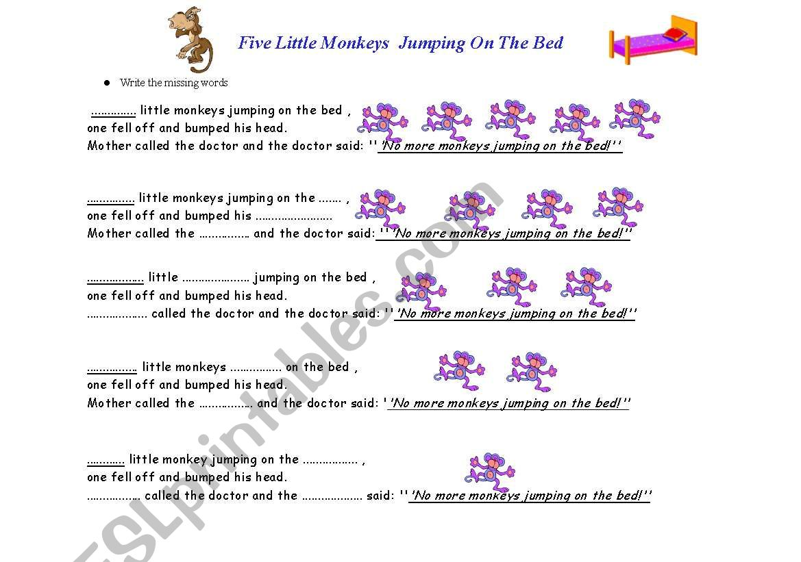 Five Little Monkeys Jumping On The Bed Worksheet