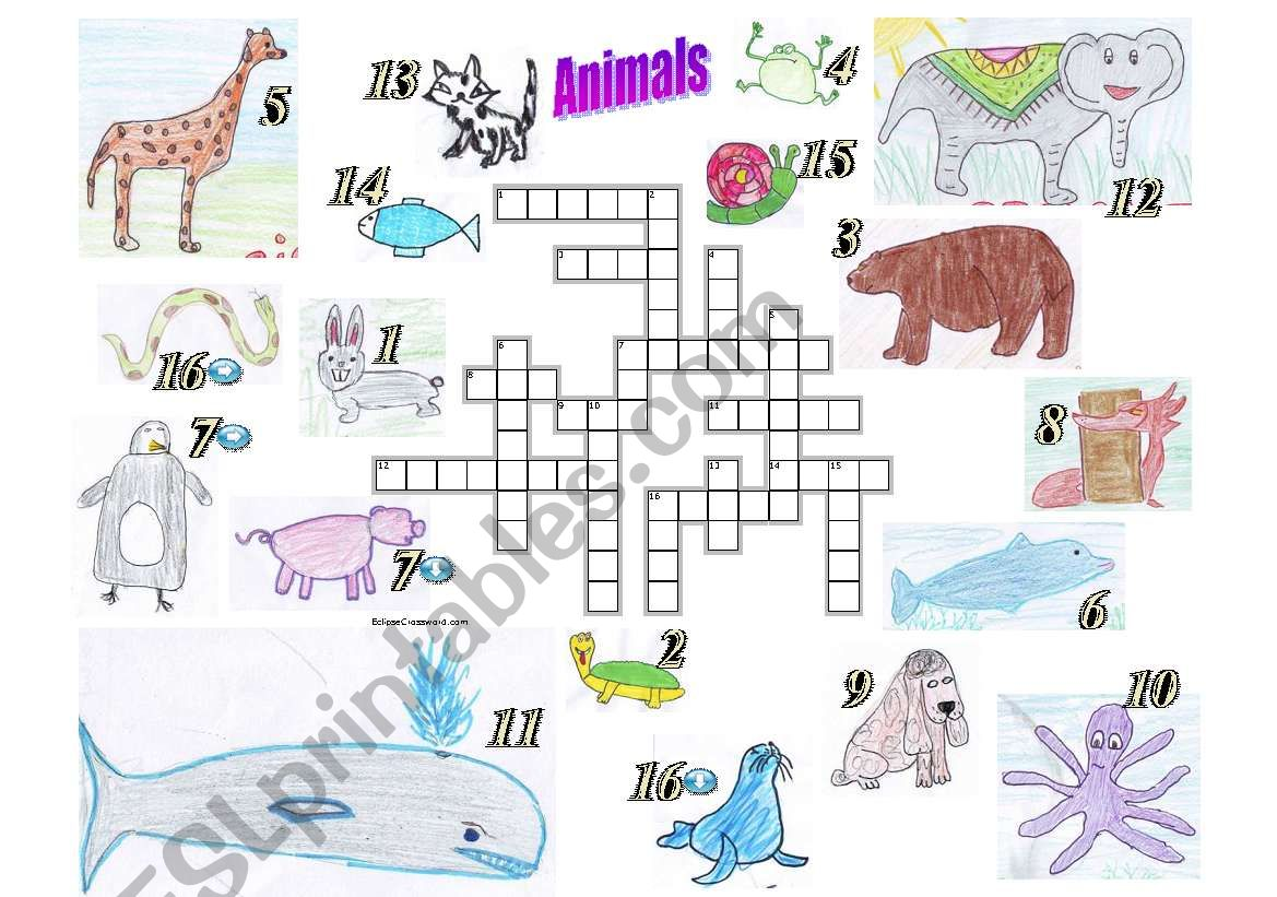 Animals Crosswords Puzzle