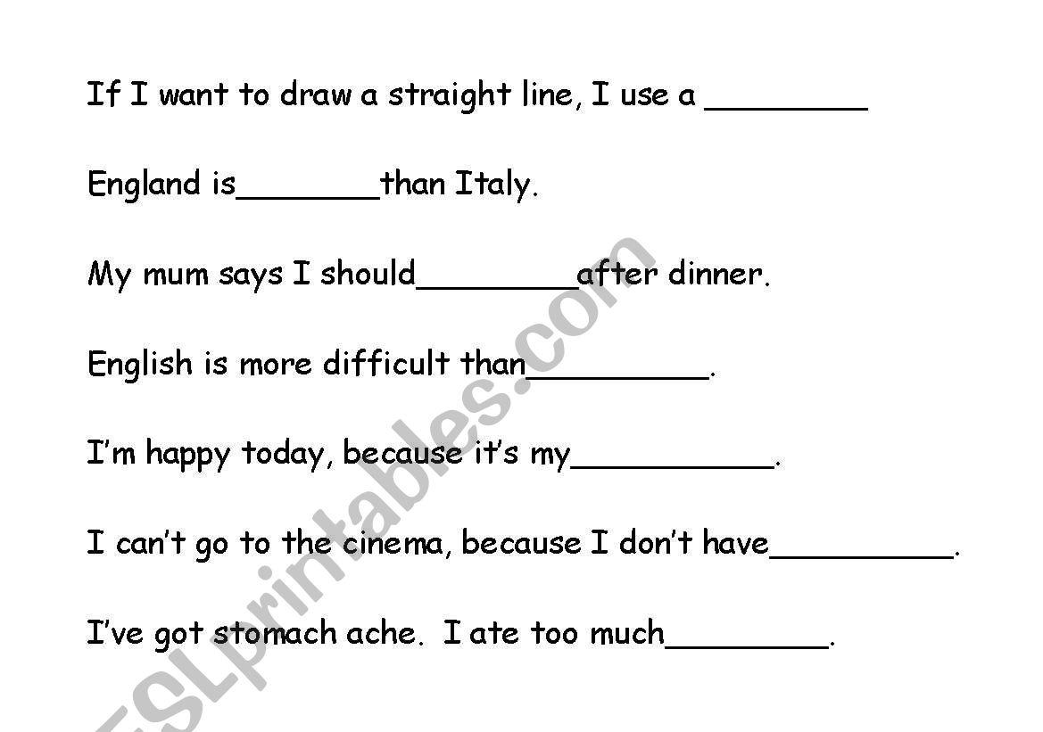 English Worksheets Blankety Blank Word Game