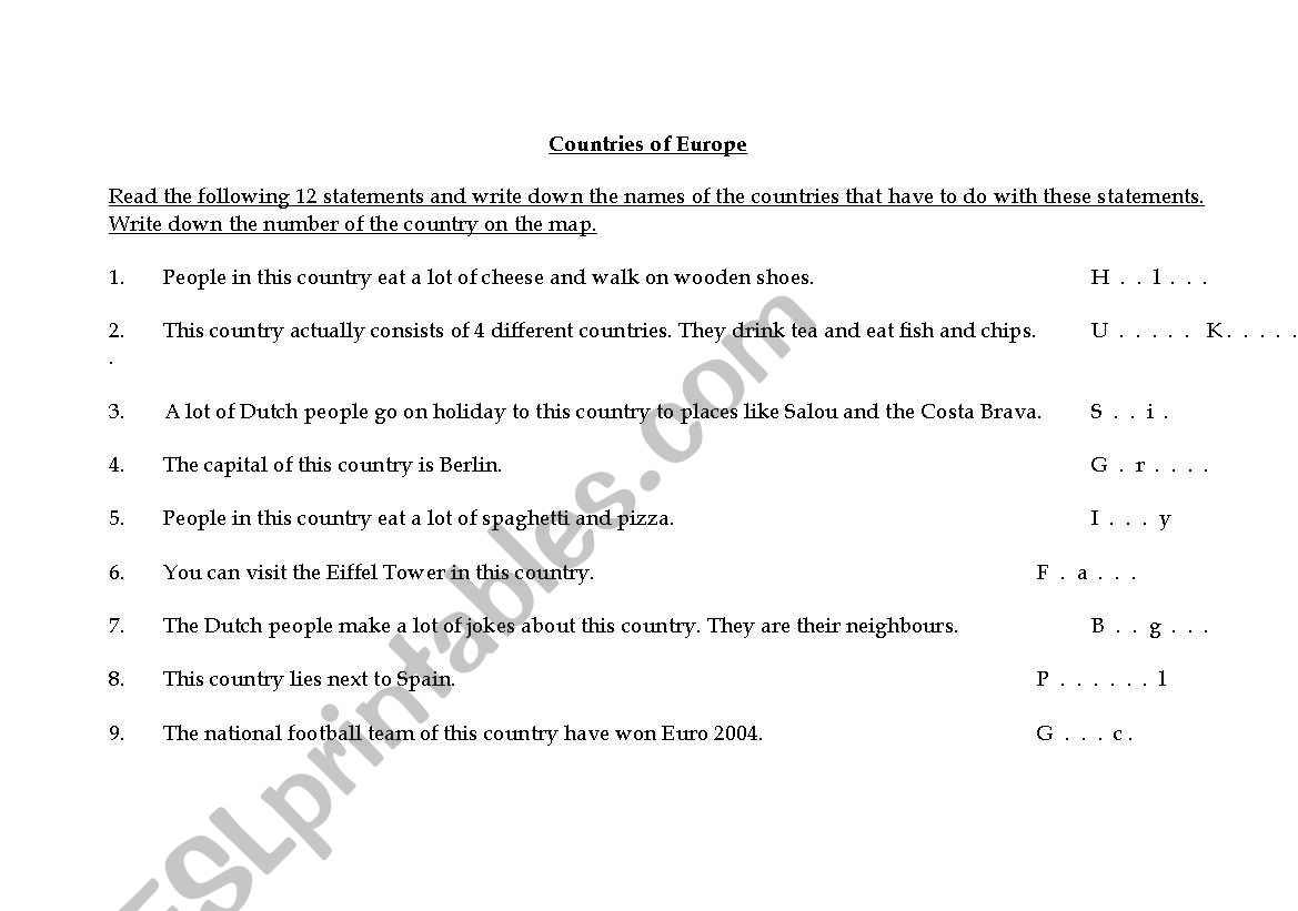 English Worksheets Countries Of Europe