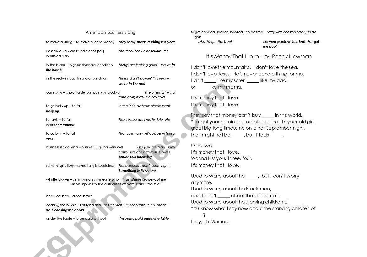 American Business Slang Vocabulary And Randy Newman Gap Fill
