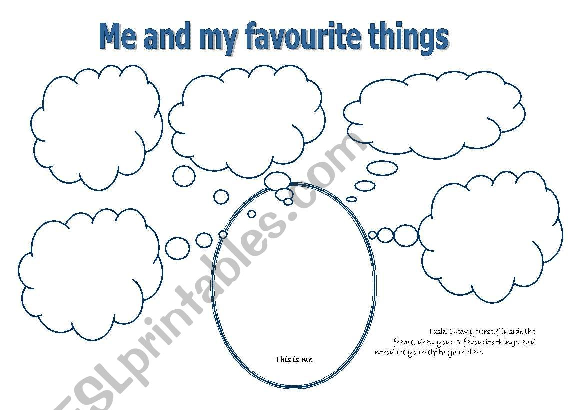 English Worksheets Me And My Favourite Things