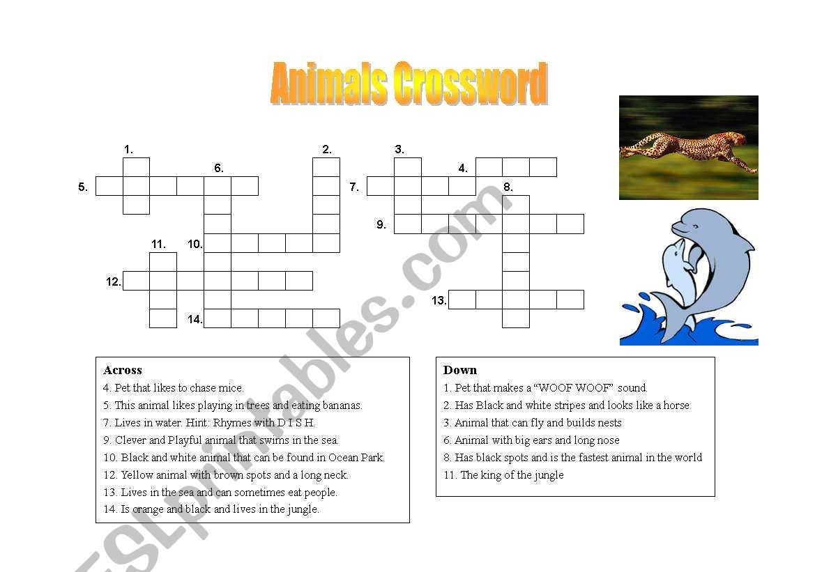 Fun Crossword Puzzle About Animals