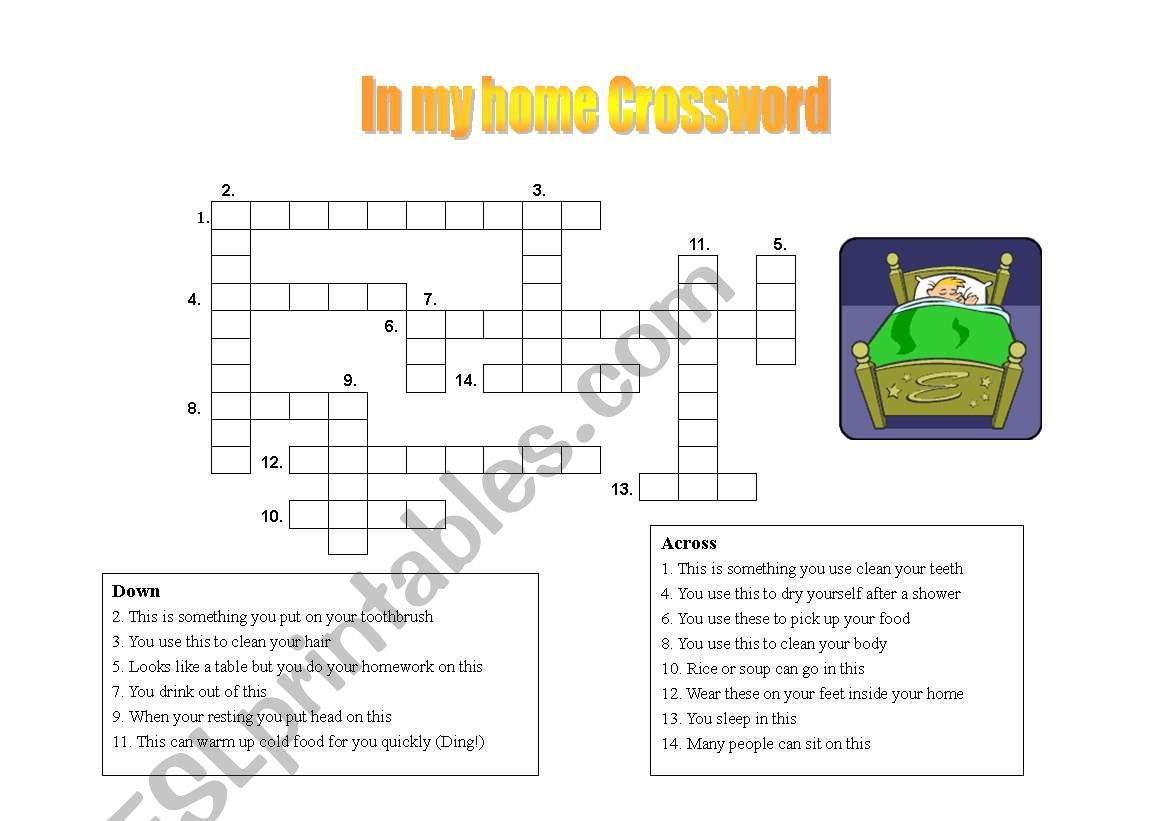 English Worksheets Crossword About Things In The Home