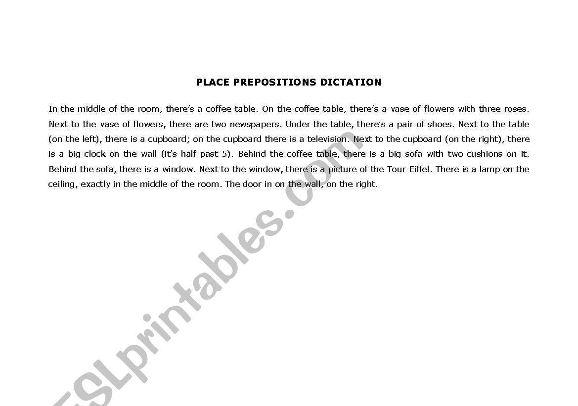 Picture Dictation Place Prepositions
