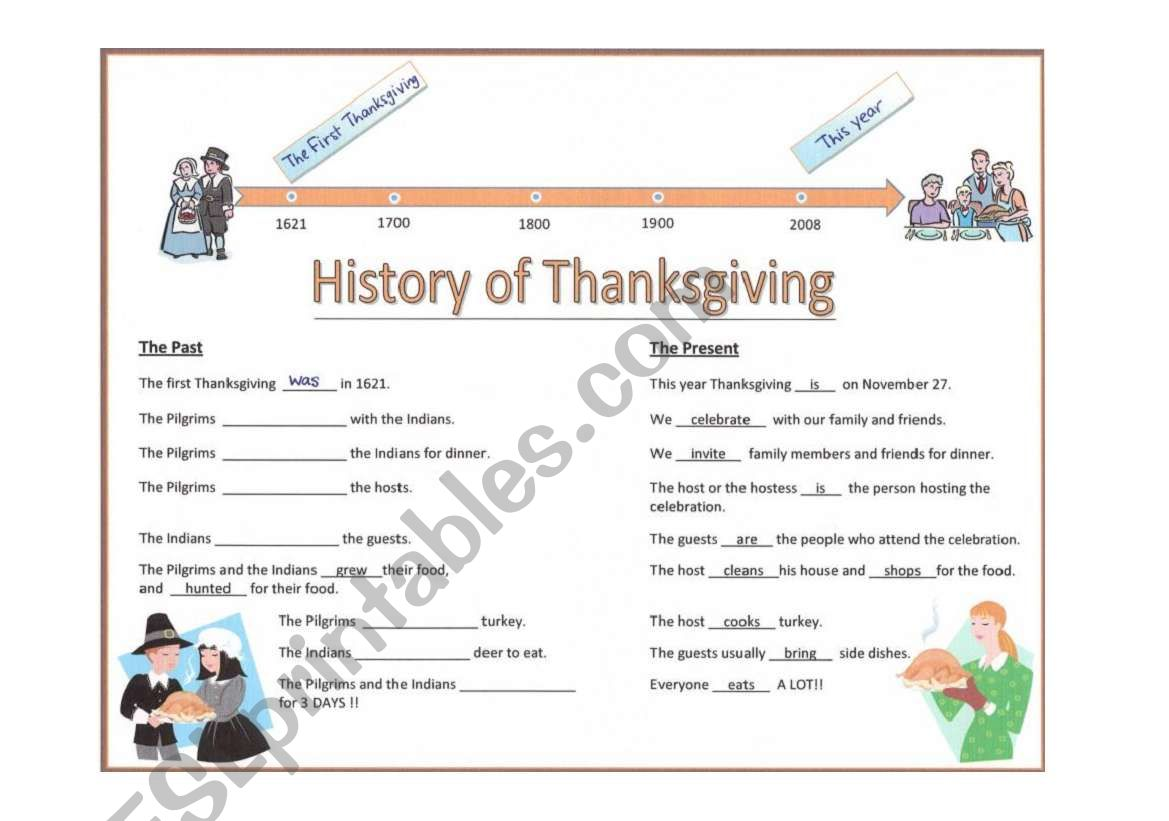History Of Thanksgiving Mple Past Verbs Exercise