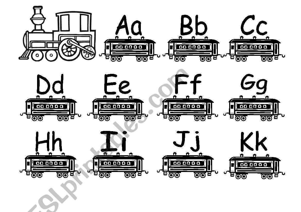 English Worksheets Alphabet Train