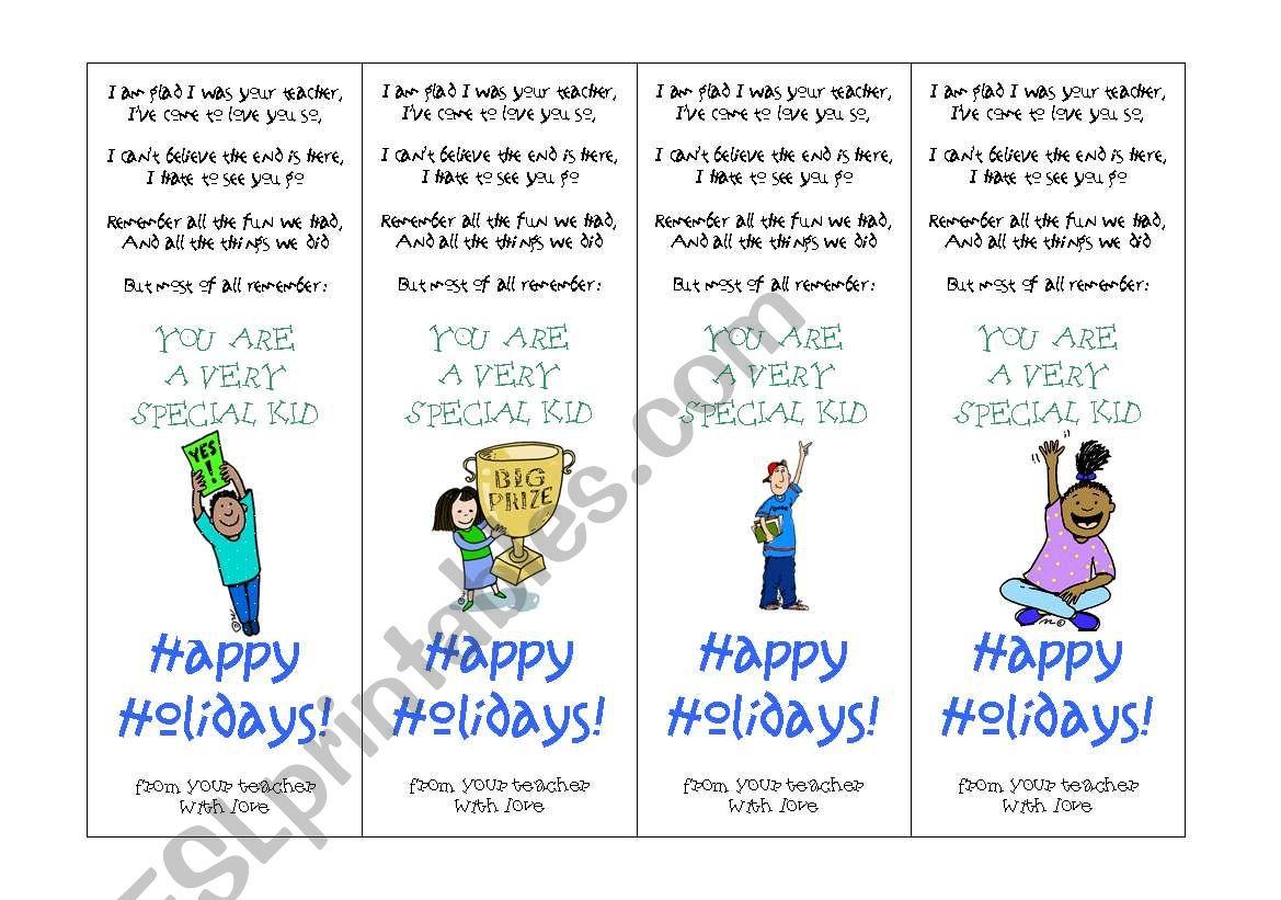 Happy Holidays Bookmarks