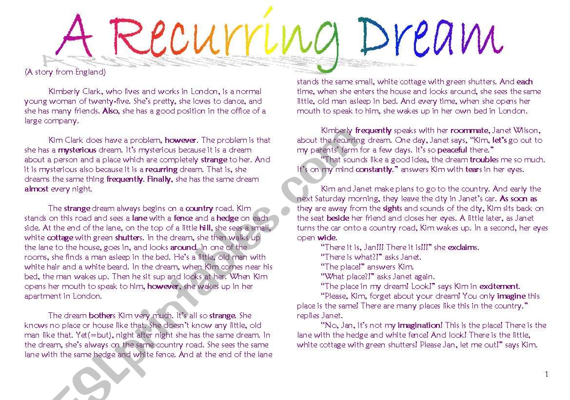 I Have Dream Worksheet