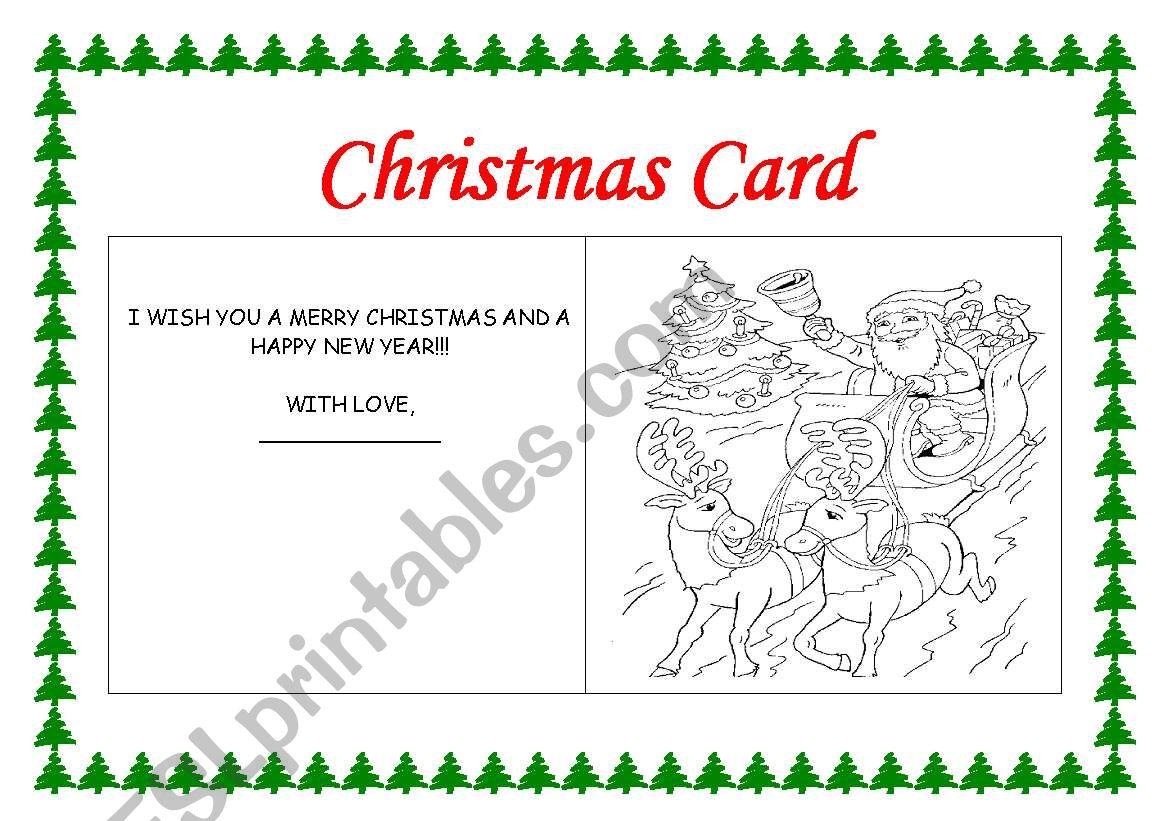 English Worksheets Making A Christmas Card
