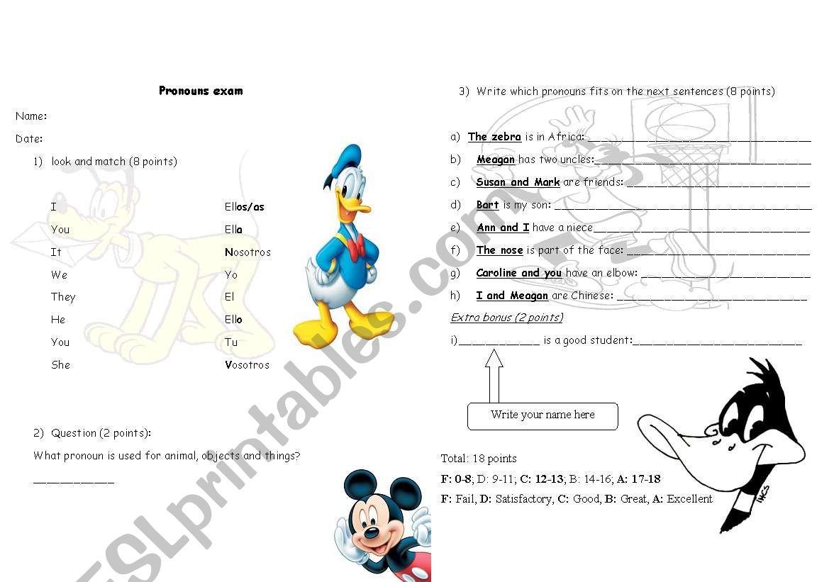English Worksheets Subject Pronouns Exam