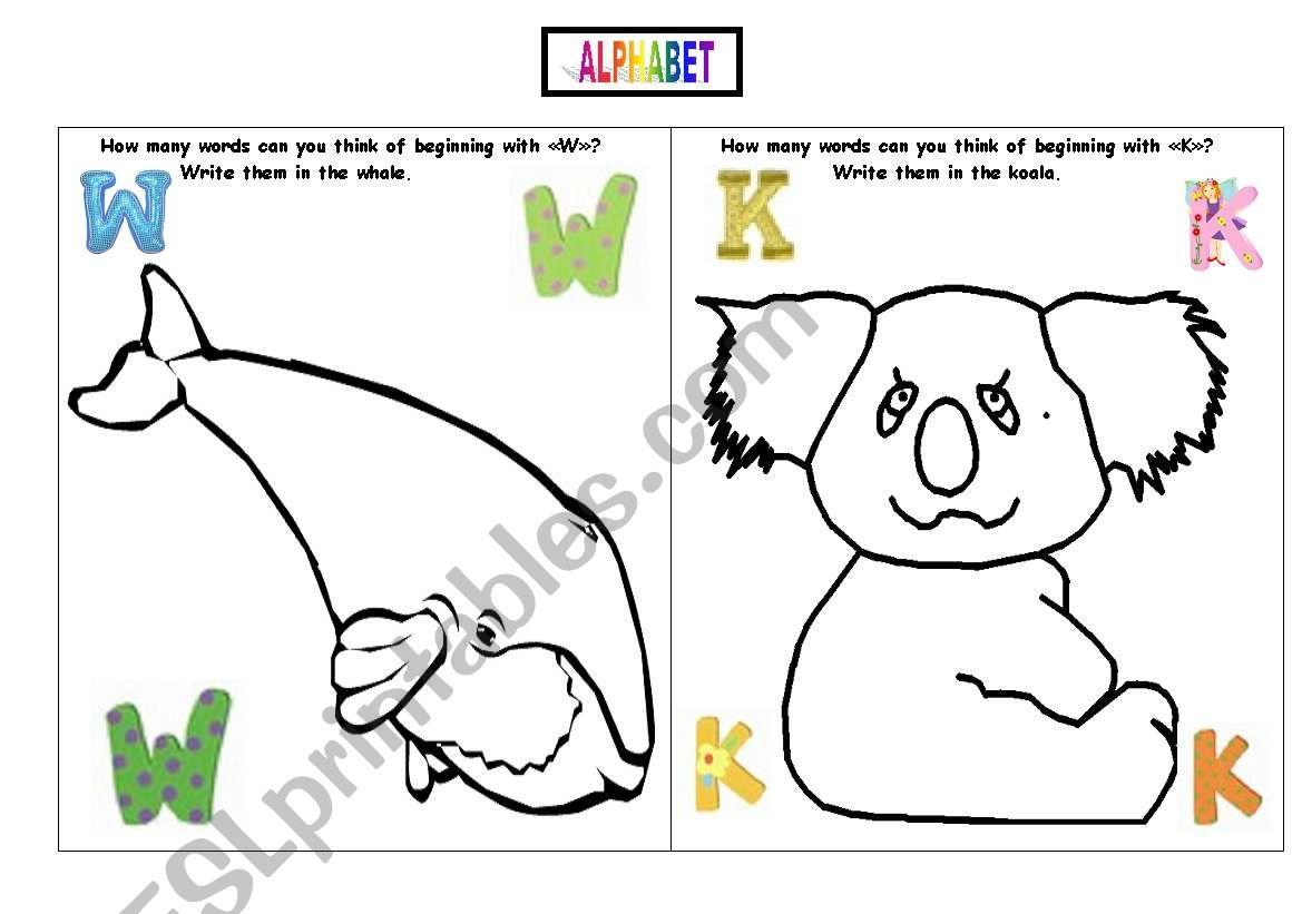 English Worksheets Alphabet