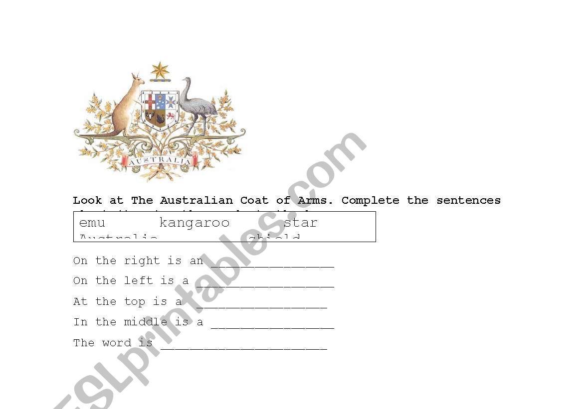 English Worksheets Australian Coat Of Arms