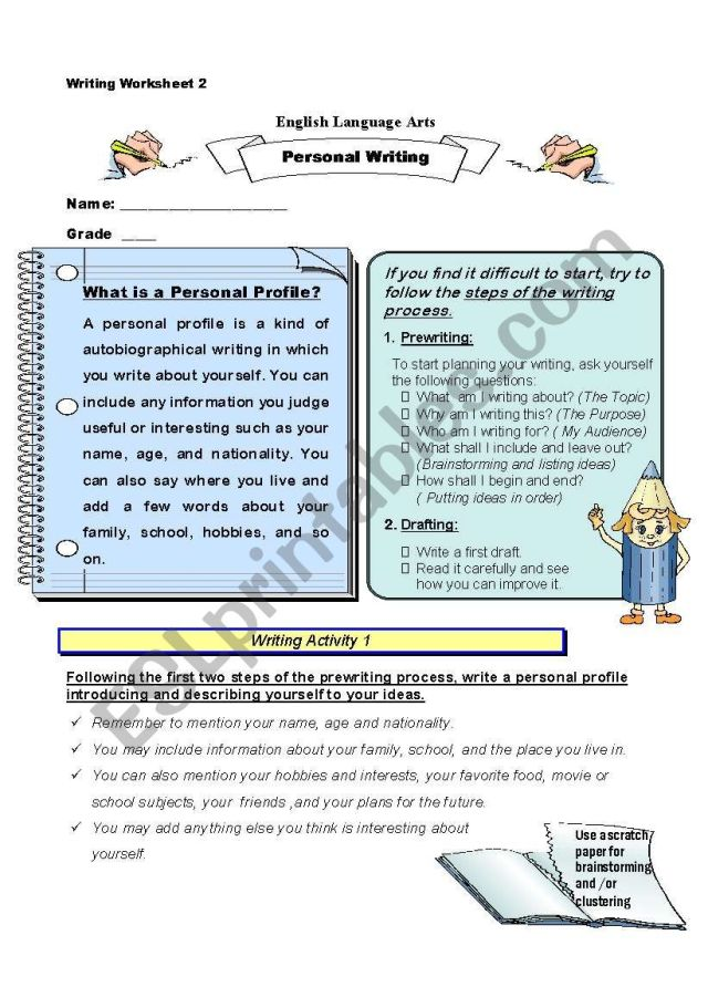 Writing a Personal Profile - ESL worksheet by tawilrim@hotmail.com
