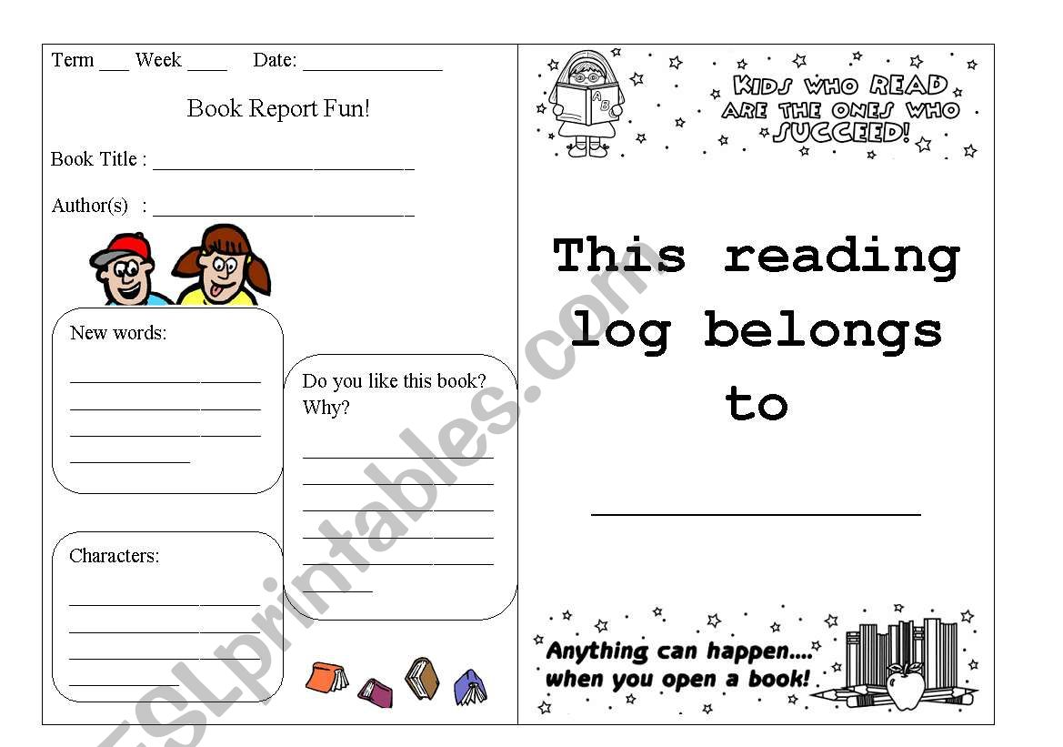 English Worksheets Reading Log Part 1