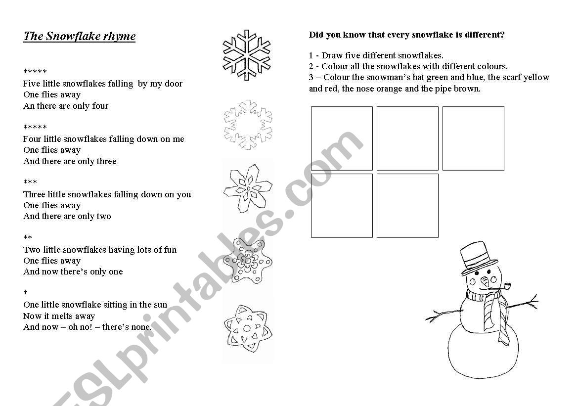 English Worksheets A Snowflake Poem