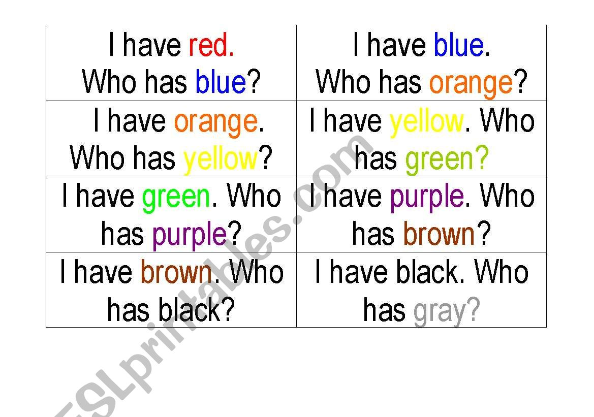 I Have Who Has Color Words Game 1