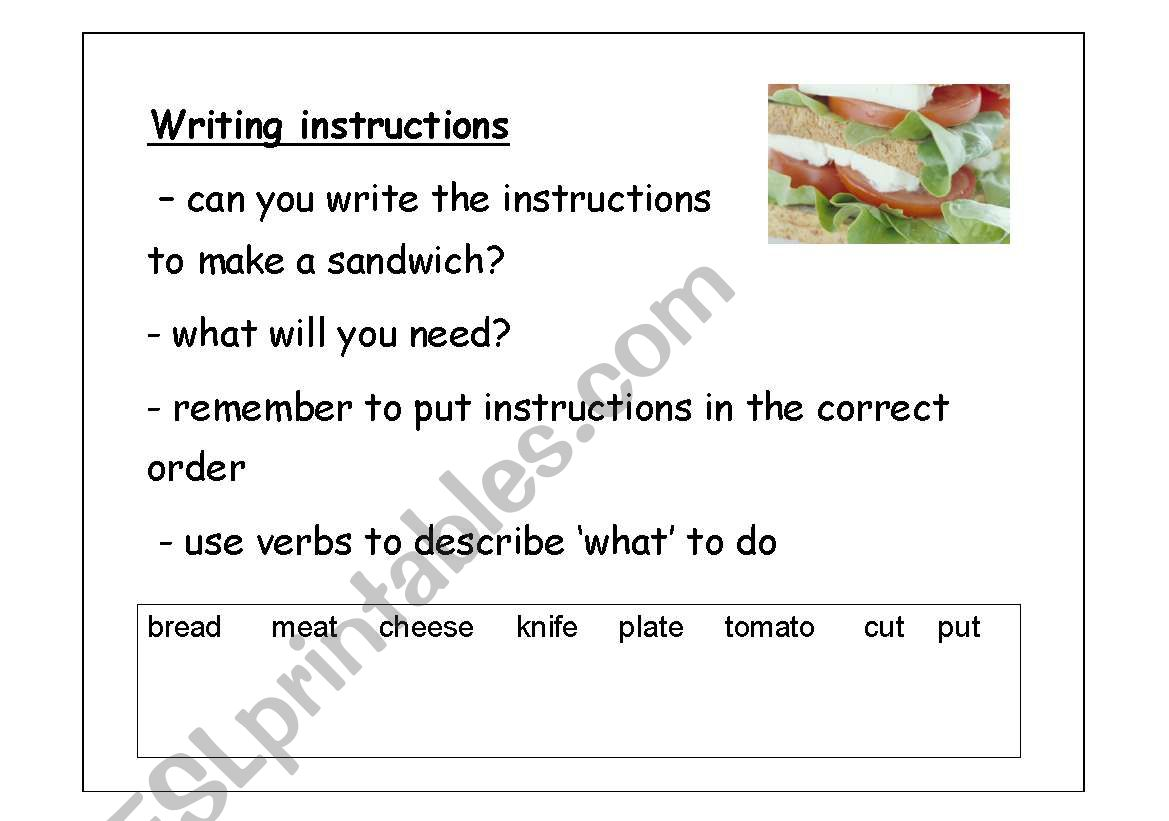 Writing Instructions To Make A Sandwich