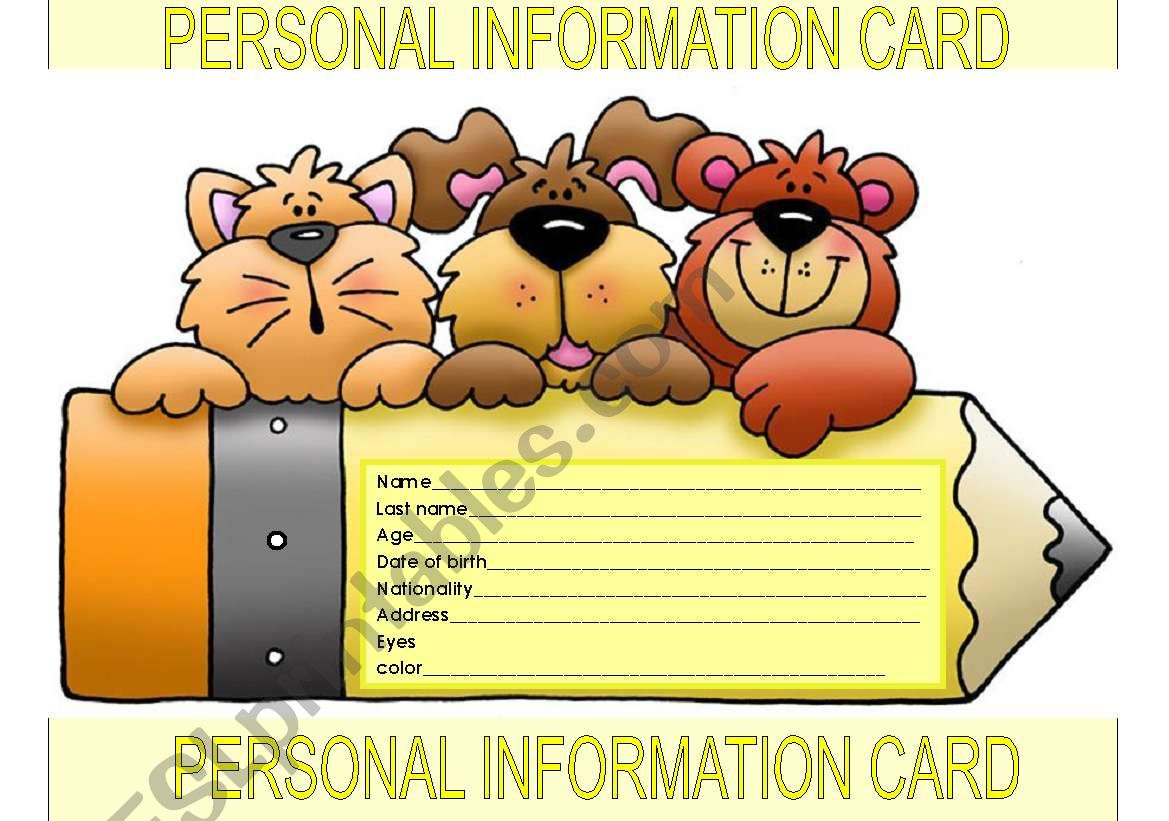 Personal Information Card