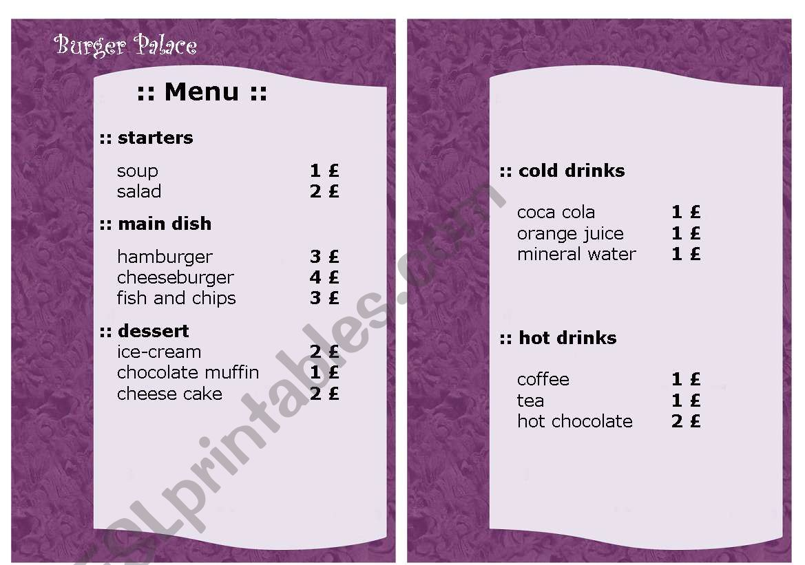 Easy To Read Menu Card For Secondary Level