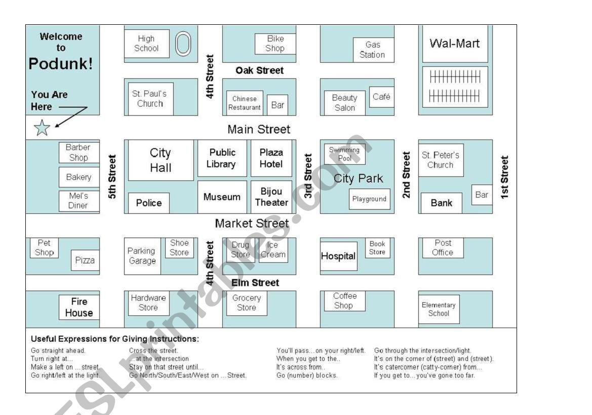 Esl Map Worksheet